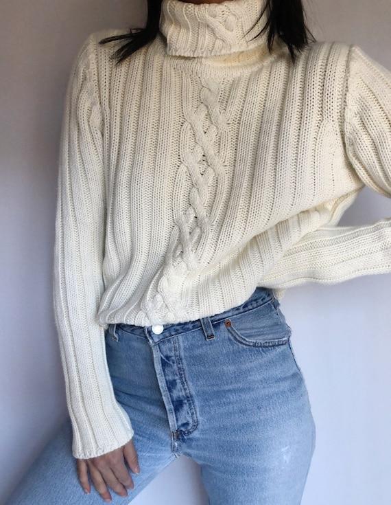 Vintage 90's cable knit turtleneck sweater jumper