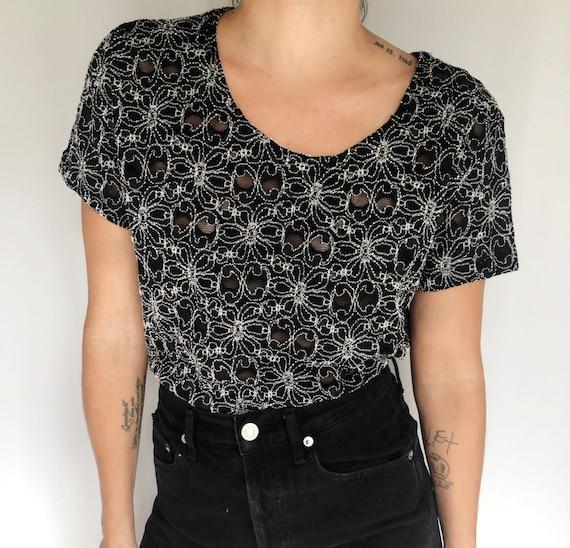 Vintage 90's mesh lace t shirt M