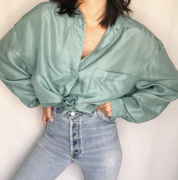 Vintage Silk pocket blouse L