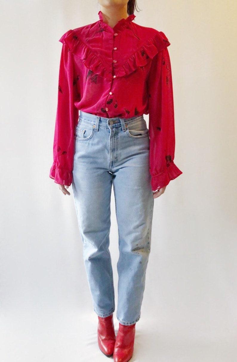 50752d6cf44f77 Vintage 80's ruffle chiffon pink blouse M | Etsy