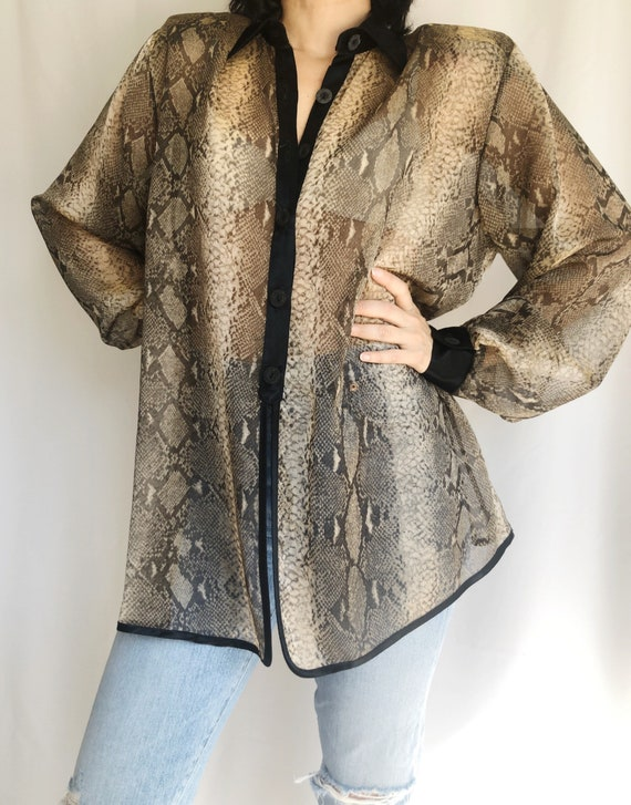 Vintage Sheer snakeskin swing blouse S