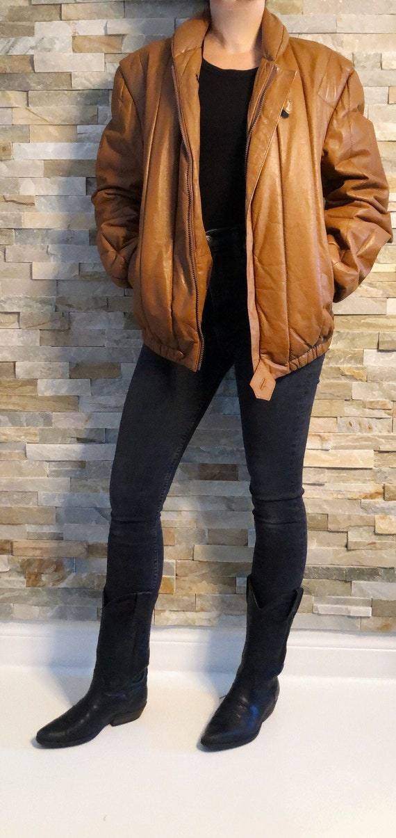 Vintage 80's Leather Bomber Quilted Jacket M