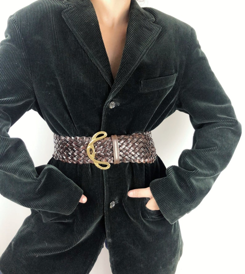 Vintage braided leather belt Made in Italy S