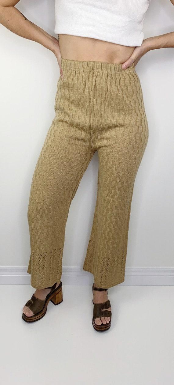 Vintage Knit crochet high waisted pants L