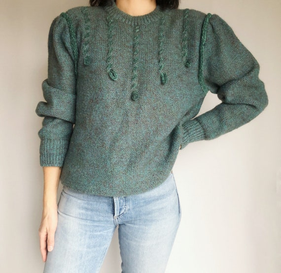 Vintage pullover sweater puff sleeve S