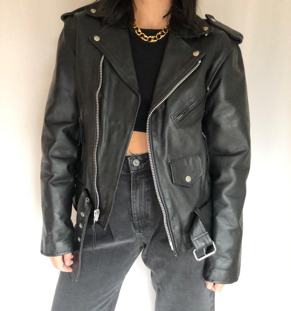 Vintage leather motorcycle biker jacket S - image 2