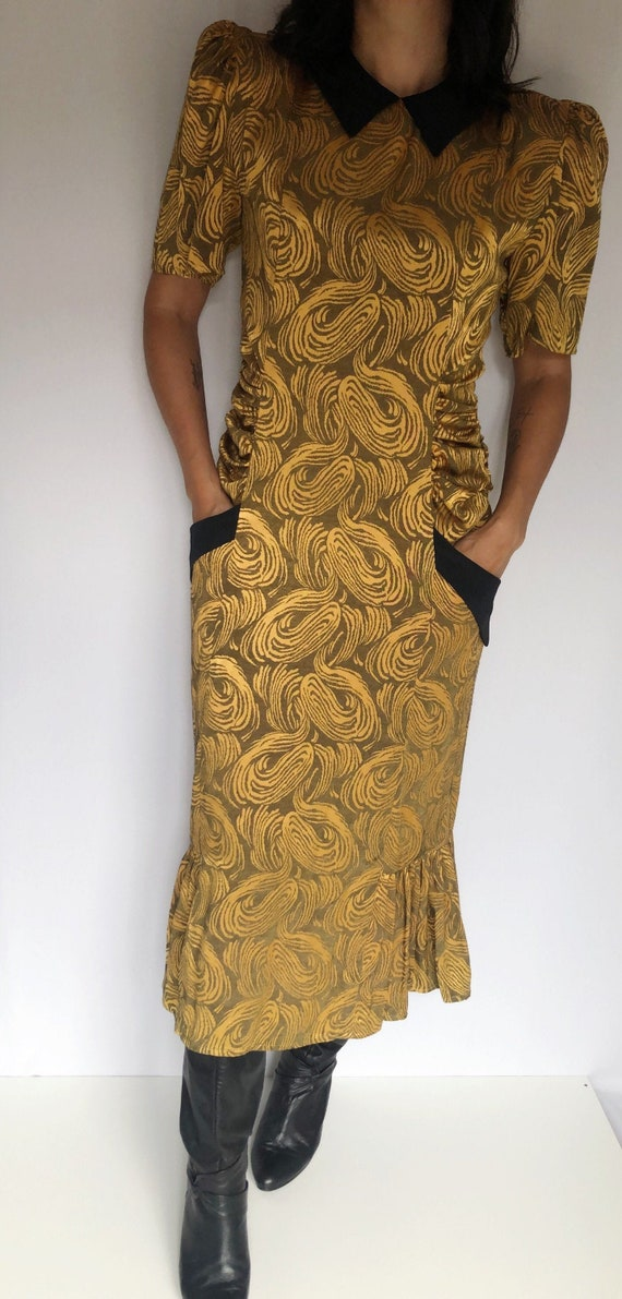 Vintage 80's does 40's gold dress S