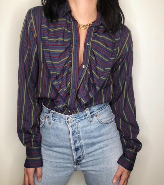 Vintage 80's Alfred Sung ruffle blouse Size  2