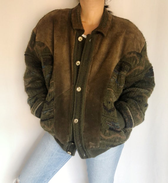 Vintage knit suede sweater jacket 48