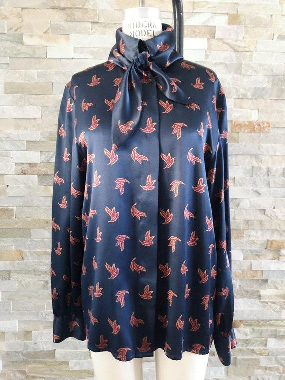 Vintage silk Secretary blouse leaf print M