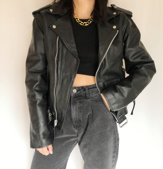 Vintage leather motorcycle biker jacket S - image 1
