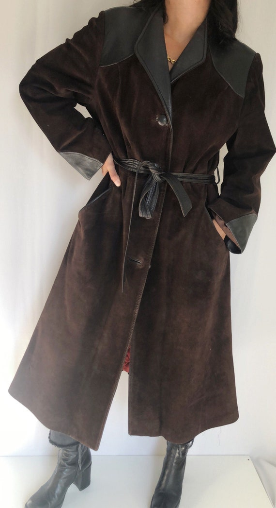 Vintage 70's Suede leather Tannery Row trench coat