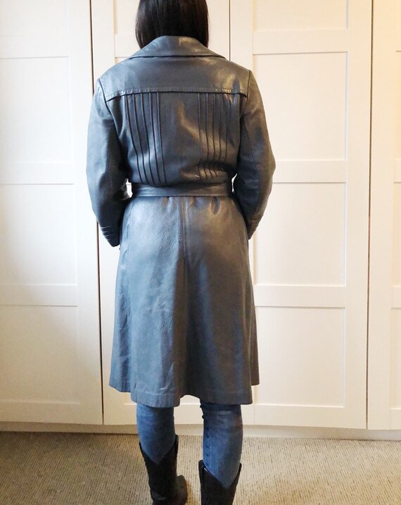 Vintage 70's soft leather trench blue M - image 5