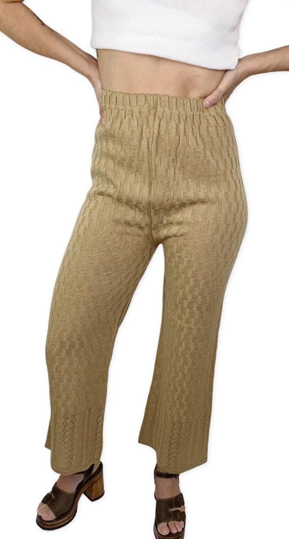 Vintage Knit crochet high waisted pants L - image 1