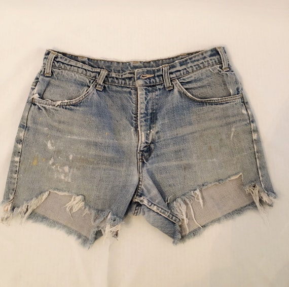 Vintage Levi's painted distressed denim jean short