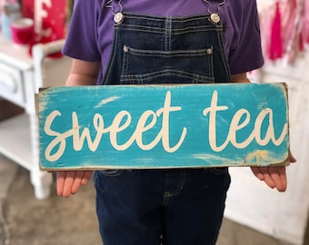 sweet tea rustic sign farmhouse style kitchen decor vintage style southern fixer upper distressed wooden sign farm decor beverage bar coffee