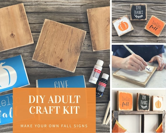 DIY KIT Wood Fall Sign, adult craft kit, diy fall decor, crafts for adults, rustic home decor, make your own wooden signs, sign making kit