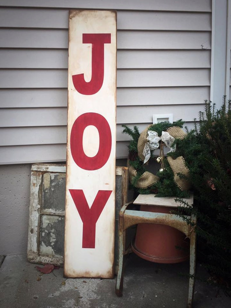 Joy Porch Sign Leaning Porch Sign Standing Joy Sign Winter Etsy