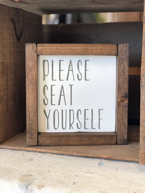 Bitte Sitz selbst gerahmt Holzschild lustige Badezimmer | Etsy
