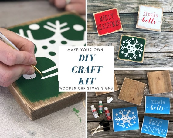 Diy Kit Christmas Signs Adult Craft Kit Diy Christmas Decor Crafts For Adults Rustic Home Decor Make Your Own Wooden Signs Sign Making