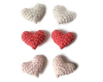 Soft Plush Hearts - Multi-colour; Loose Individual Hearts, Nursery or Wedding Decor, Plush Crochet Stuffed Hearts, Kids Children Decor Toys