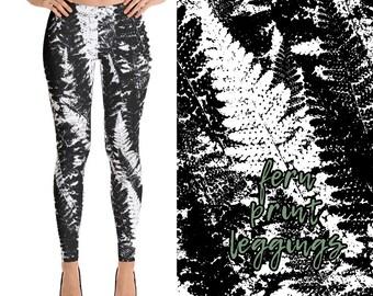 dbdbeeebd32 Fern Print Ladies Nature   Boho Leggings in Black and White