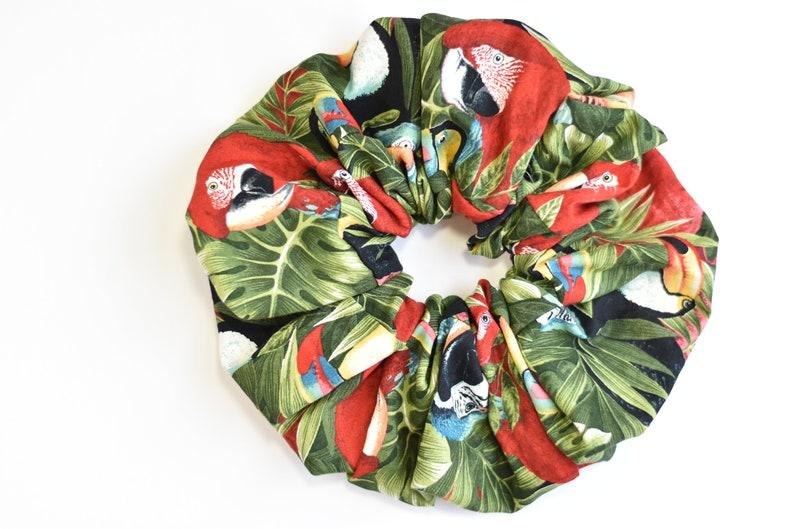 Purple Parrots Big Tropical Scrunchies Red Parrots and Toucans Scrunchies