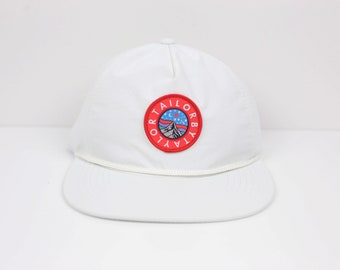 0ffc43ca666 TAILOR BY TAYLOR - Nylon Rope Hat - White - Embroidered patch - red white  blue - snapback - Adjustable Plastic Snap