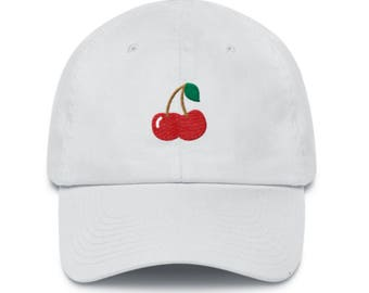 Cherry Logo Embroidered Baseball Cap (any color) Dad Hat Great For Outdoors