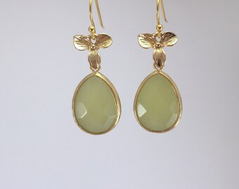 Jade flower Drop Earrings