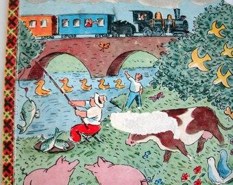 Choo-Choo, Bonnie Book, Oscar Fabres, Trains, Vintage 1950s, 1957