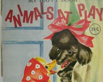 Animals at Play, My Happy Book, Vintage 1950s Children's Book, Vintage Illustration