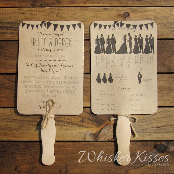 Rustic Wedding Program Fan Paddle Ceremony Country