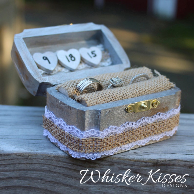 Burlap and Lace Ring Pillow Ring Bearer Ring Holder Engagement Proposal Box Wooden Ring Box Rustic Wedding Ring Box Personalized
