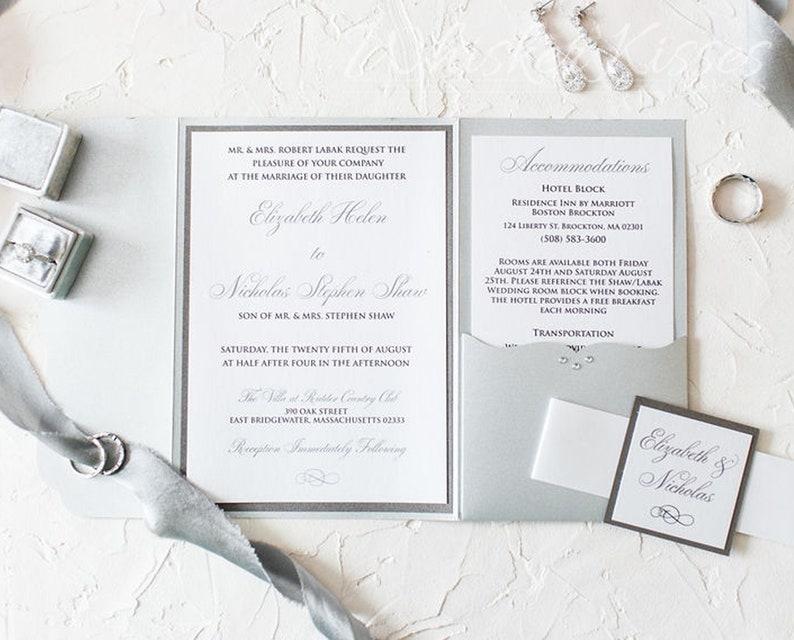 Silver Wedding Invitation Black Tie Wedding Invitation Etsy