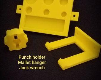 Punch Holder, Jack wrench, and Mallet hanger kit. Jack wrench fits both types of HF bottle jack valve knobs.