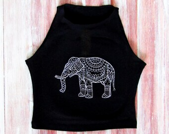 9bf3c1765abbd0 Elephant Mandala Crop Top-Boho Mandala Elephant-Mandala Yoga Crop Top-Yogi  Clothing-Mandala Activewear