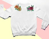 Embroidered Floral Shoulders Pullover Crew Sweatshirt- Boho Flowers Sweater-Embroidered Womens Sweater