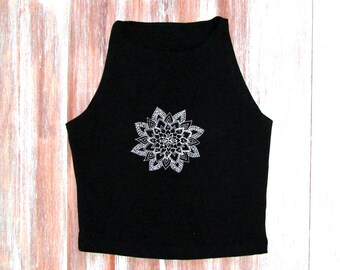 7c641c5e58fb3f Mandala Crop Top-Yoga Crop Top-Workout Crop Top