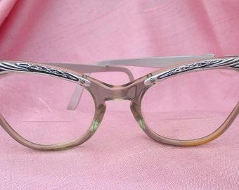 28a88feba6c9 Ornate Vintage 50s Women s Cat Eye Cateye Glasses Metal   Plastic Bifocals