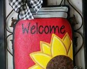 Sunflower on Mason Jar Burlap Door Hanger Decoration and Wreath Replacement. RED