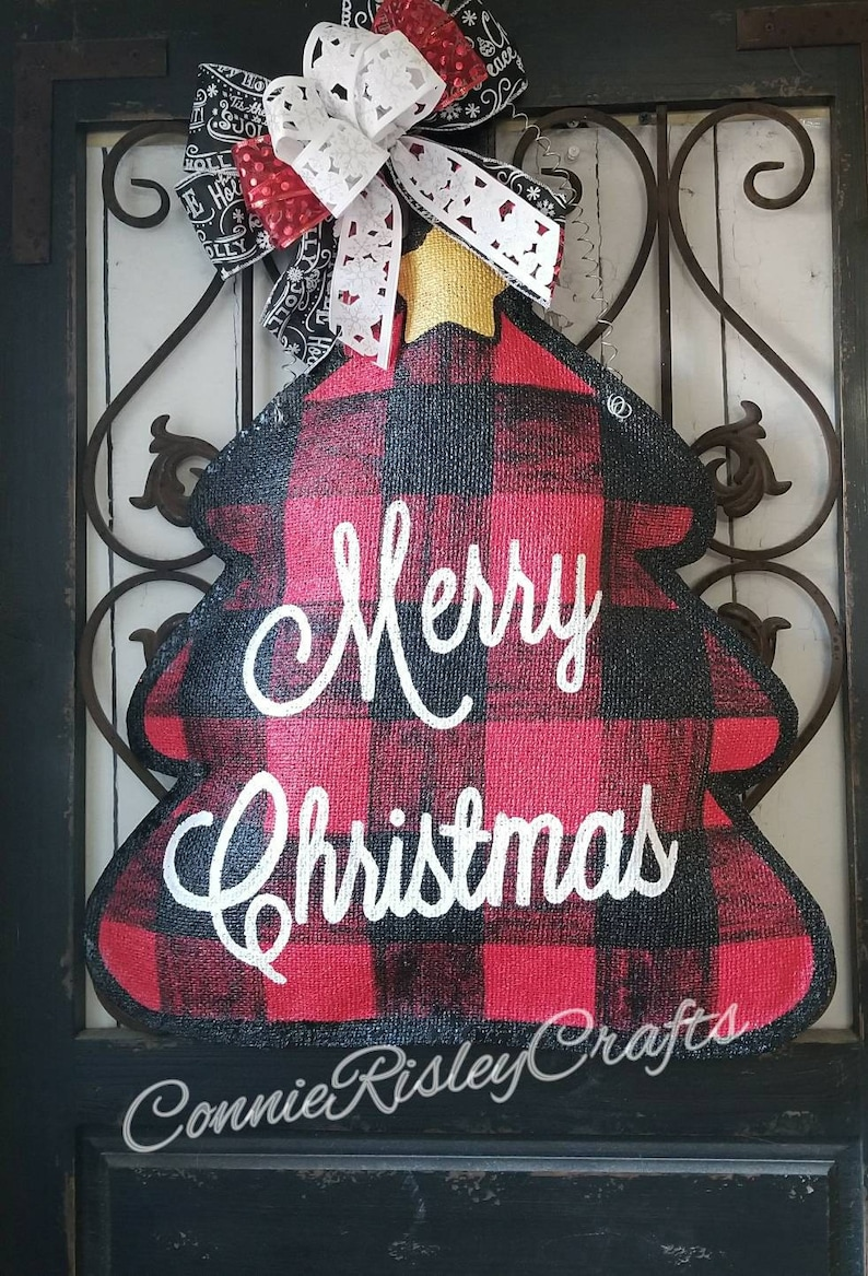 Hand painted burlap door hanger Buffalo plaid Christmas tree