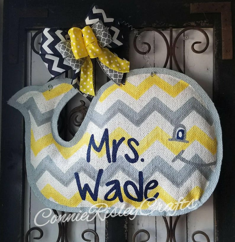 welcome wreath cute for child/'s room or birthday decoration. personalized Whale burlap door hanger