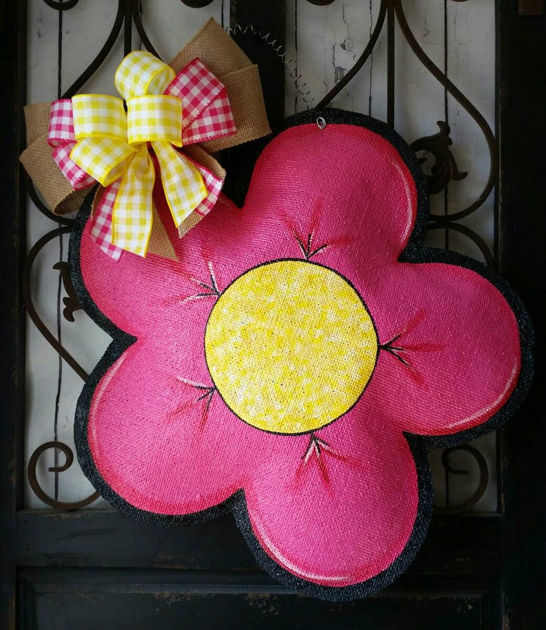 wreath large pink and yellow flower welcome sign Flower burlap door hanger Whimsical wreath for spring great Mother/'s day gift