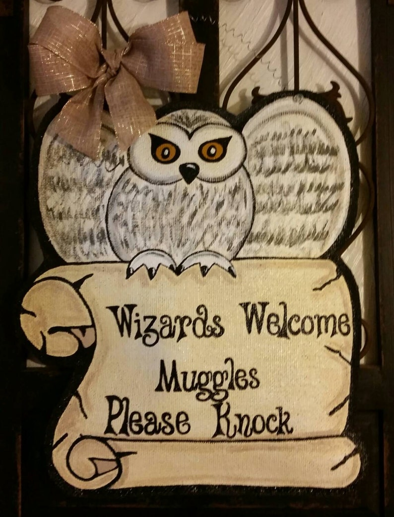Harry Potter Hedwig The Owl Interpretation Burlap Door Etsy