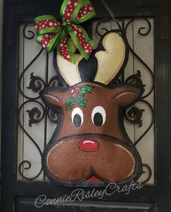 Red Nosed Reindeer Christmas Burlap Door Hanger Holiday Decorations Hand Painted