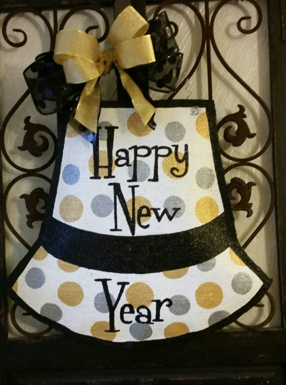 Happy New year door decor. Hand painted burlap door hanger ...