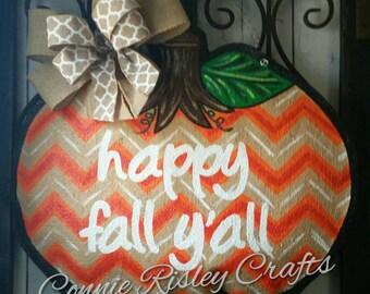 Chevron Pumpkin Burlap Door Hanger Fall Decoration