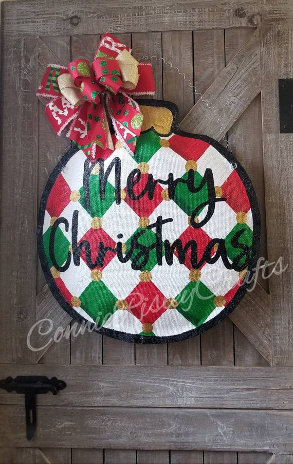 Hearts! Reindeer Stars Burlap Door Hanger Christmas Tree Pattern with Mittens