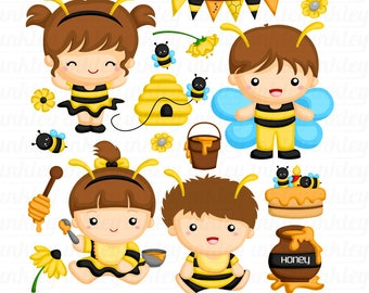 Kids in Bee Costume Clipart - Cute Animal Costume Clip Art - Cute Insect - Free SVG on Request